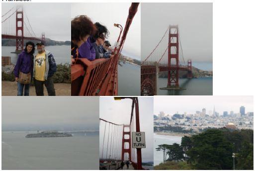Golden Gate Bridge mit Blick auf die Skyline und auf Alcatraz.